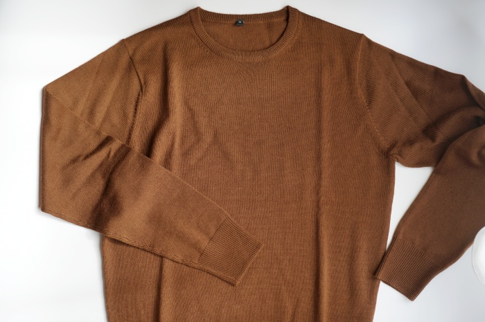 無印 メリノウール 洗えるハイゲージクルーネックセーター